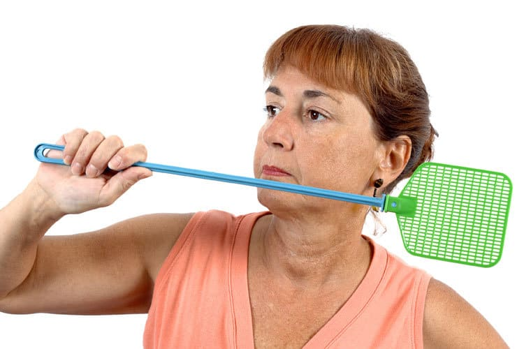 Woman with fly swatter image